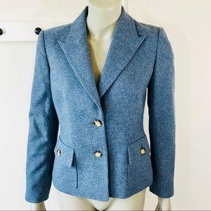 Michael Kors Tweed Blazer Blue 100% Wool